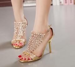 high quality wedding bridal party shoes crystal rhinestone ankle strap thin high heel sandal pumps gold 34