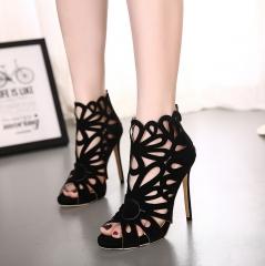 Women Cut Out Platform Shoes Roman Gladiator Sandals Zipper Sandals Sexy Banquet High Heels black US5