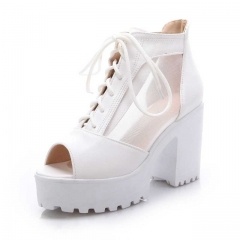 Woman Large size Square High Heels Party Wedding Dress Shoes Sweet Open Toe Thick Platform Sandals white US5
