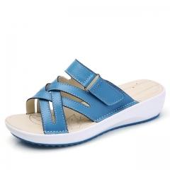 women Shoes Leather flat Sandals Low Heel Wedges Summer  Open Toe Platform Sandalias ladies #01 US5.5