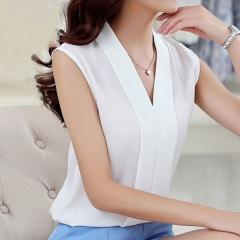 New Fashion Women Chiffon Blouses Ladies Tops Female Sleeveless Shirt Blusas Femininas white S