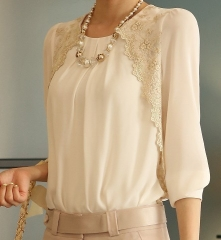 Chiffon Shirts New Turn-down Collar Blouse Women Lace Loose Plus Size Casual Blusas Femininas beige S