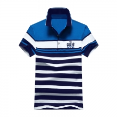 New Fashion Summer Mens Polo Shirt Casual Striped Polo Shirt Cotton Shirt For Youth Male Ralphmen blue M