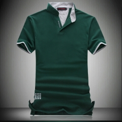 New Fashion Brand Men Polo Shirt Solid V-Neck Short-Sleeve Slim Fit  Cotton Casual Shirts Plus Size green M
