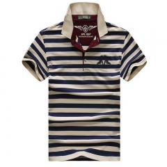 High quality brand men polo shirt new summer casual striped cotton solid polo shirt  ralp amisa blue M