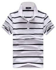 new fashion short-sleeve shirt loose summer turn-down collar stripe men clothing polo shirt #01 L