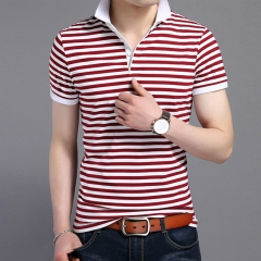 Men Red Striped Polos Short Sleeve Polo Shirt Male Slim Fit Tee Brand Tops Men Casual Clothing red M
