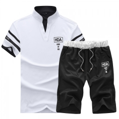 Limited Anti-wrinkle Summer Casual Set Youth Short Sleeve Stand Collar Men Polo Shirts Shorts Tracks white M