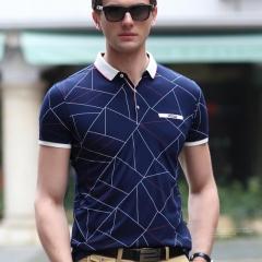 New Summer High Quality Cotton Fashion Plaid Casual Polo Shirt Men Business Pockets Slim Mens blue M