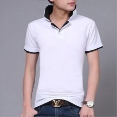 Summer new men's short-sleeved polo shirt fashion men's double-collar short-sleeved polo comfortable #01 M