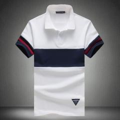 2017 Original Short Sleeve Patchwork Polo Male Casual Turn-Down Collar Polo Shirt Slim Striped Thin white L