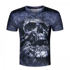 Skull Print T shirt Men 3D shirt Funny T shirt american flag/lion/skull Casual shirt Plus Size Top #01 M