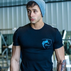 T-Shirt Fitness Bodybuilding Slim Shirts Crossfit Short sleeve Cotton Leisure O-Neck printed Tees #01 S