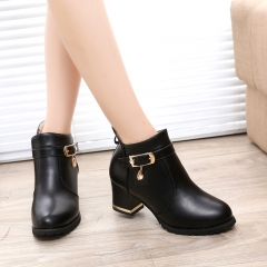 Autumn Winter Women Boots Sexy PU Ankle Boots Ladies Platform Short Boots Zip Solid Bota Feminina black US5