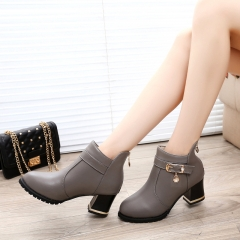 Autumn Winter Women Boots Sexy PU Ankle Boots Ladies Platform Short Boots Zip Solid Bota Feminina gray US6.5