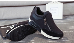 Fashion Casual Women's Shoes Hidden Heel Increased Internal Female Casual Shoes Side Zipper black US5