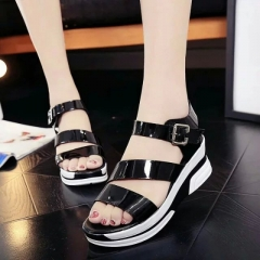 Women Wedges Shoes Gladiator Sandals Summer Slip-On Platform Fashion Ladies sandalias mujer black US5