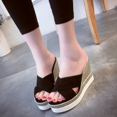 Sandals Women Peep Toe Slipper Hallow Out Platform High Wedges Shoes Summer Beach Vacation Footwear black US5