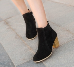 Hot Women Boots Solid European Ladies shoes Martin boots Suede Leather ankle boots with thick scrub black US5
