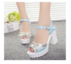 hot summer Platform for women's shoes open toe sandals female thick heel platform wedges platform #01 US6
