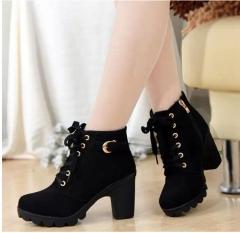 Autumn Winter Velvet Short Ankle Boot Thick Heels Wild Black Matte Female Feminina Women Shoes black 5