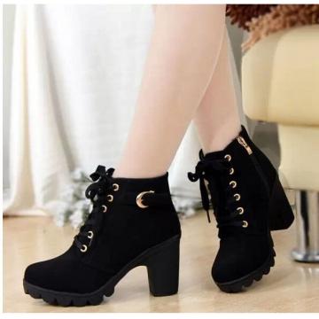Autumn Winter Velvet Short Ankle Boot Thick Heels Wild Black Matte Female Feminina Women Shoes black US5