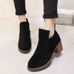 Autumn Ankle Boots Women's Thick Heels Casual Martin Shoes Botas Femininas Fashion Women Shoes black US4.5