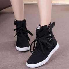 Round Toe Platform High-top Canvas Buckle Shoes Woman Lace Up boots Student Flat Ankle Boots Mujer black US8