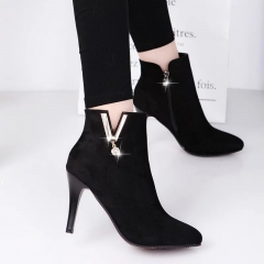 Spring Autumn Stiletto Thin High Heels Pointed Toe Faux Leather Zip Style Sexy Ankle Womens Boots #01 US4