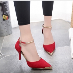 Women Suede Pumps High Heels Pumps Sexy High Heels Pointed Toe Thin Heel Ladies Wedding Shoes red 4