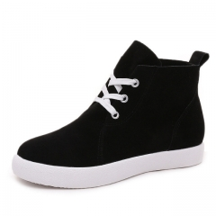 Lace-Up Women Boots Suede Platform Shoes Woman Casual Ankle Boots Spring Autumn Creepers Flats black US6