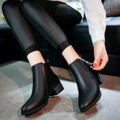 New Fashion Women shoes Low heels Rain boots Ladies Vintage with soft Ankle Spring boots black US7