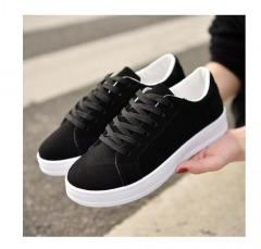 Women Shoes Casual Leather Shoes Flat Shoes Solid Comfortable Lace Up Students Female Shoes black US4.5