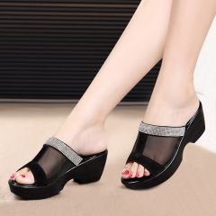 Platform Sandals Shoes Summer Waterproof Genuine Leather Slippers Plus Size Female Sapato Feminino black 5
