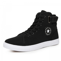 High Quality Men Canvas Shoes 2017 Fashion High top Men's Casual Shoes Breathable Lace up black US6.5