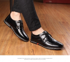 Fashion New Super Fiber Leather Soft Comfortable Men's Casual Shoes Portable Driving Laces Flats black US6.5