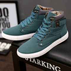 New 2017 Retro Style Men's Casual Shoes Spring Autumn Vintage Low Boots Lace Up High Top #01 US6.5