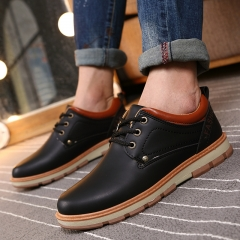 Fall Autumn Men's Casual Shoes PU Leather Lace Up Work & Safty Shoes Lower-cut Martin Flat Shoes black US6.5
