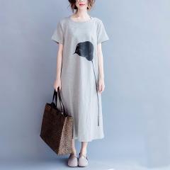 Women's Elegant Dress Women's Print Dress Light Gray O Neck Short Sleeve Plus Size Dresses gray L