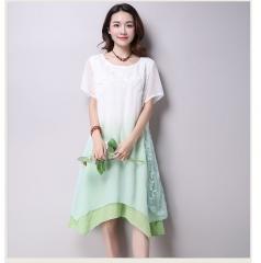New lace short sleeve gradation women casual cotton Linen dress Printing o-neck vestidos de festa green M