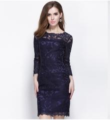 Summer Autumn Women Lace Hook Flower Hollow Out Dress Casual Full Sleeve Slim Office Dresses blue S