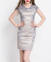 Women Summer Dress Luxury Floral Print Embroidery O Neck Office Working OL Casual Elegant Dresses gray S