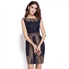Women High Quality Embroidery Print Dress Casual Sleeveless Slim Waist Women's OL Office Dresses dark blue S