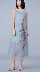 2017  dress  sleeveless women dress dress Embroidery o-neck A-Line plus size vestidos de festa #01 S