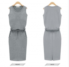 Fashion Women Sleeveless Cotton Slim Pockets With Belt Pencil Dresses Casual Female sexy Dress gray S