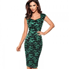 Sexy Elegant Summer Floral Flower Lace Cap Sleeve Slim Casual Party Fitted Sheath Bodycon Dress green S