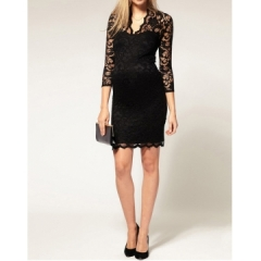 New Hot Stylish Women's Mini Lace Dress Slim Sexy Ladies' V-Neck 3/4 Sleeve Party Dresses black S