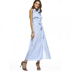 Casual Maxi Blue Striped Shirt Dress Women 2017 Spring Summer Beach Long Dress blue S