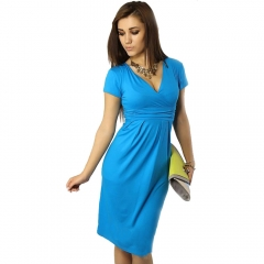 2017 Elegant Celebrity Pregnant WomenPlus Size Short Sleeve Cotton Casual Bodycon Women Dresses blue S