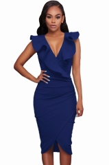 Women Summer Sleeveless Dress Sexy Solid Turquoise Ruffle V Neck Tight Wrap Party Dress Vestidos navy S